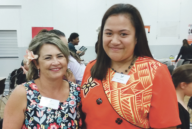 Ane Takapu, right, was helped into work by Tania Hansen and her team from InWork. Ane spoke at the Lalanga Fou fono about her journey.