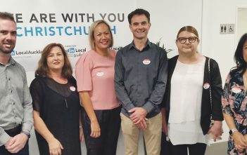Organiser Daniel Hopper with speakers Ellie Wilkinson, Meleane Burgess, Stefan Doll, Rogena Sterling and Jovi Abellanosa.