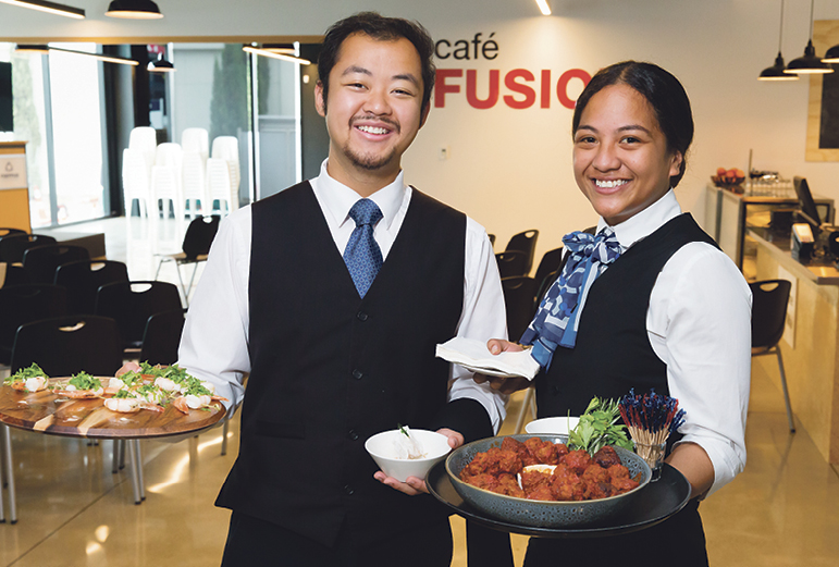 NZMA students prepared and shared food at the opening.