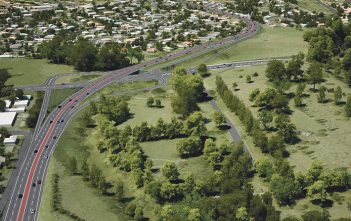A concept landscape plan and a 3D image of the planned Cobham Drive intersection.