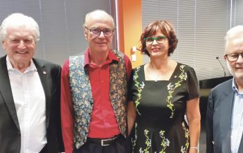 Sir William Gallagher, Mark Flowers, Lynnette Flowers and Gordon Chesterman at the farewell.