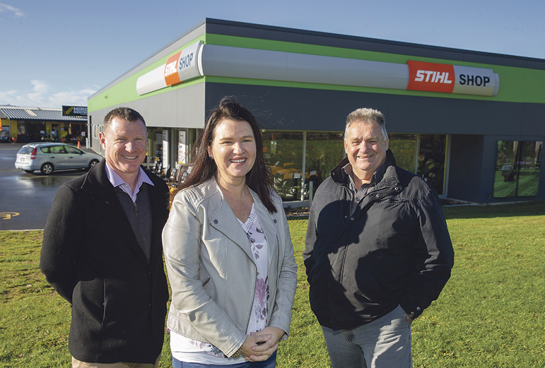 Gary and Trina White with John Morrow. The Te Awamutu Stihl Shop is one of their many builds around the region. Photos: Peter Drury