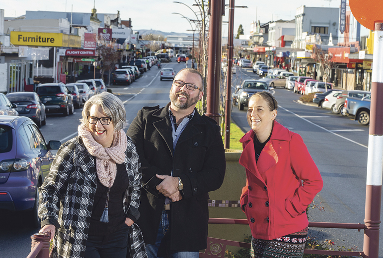 Jean McKenzie, Kris Anderson and Chantelle Good on Te Awamutu's main street. The town provides a base for new businesses to grow and prosper.