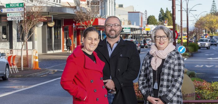 "Chantelle Good, Kris Anderson and Jean McKenzie on Te Awamutu's main street. ""Business here is doing really well."" Photo: Peter Drury"