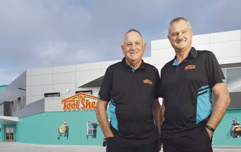 The ToolShed - Graeme and Wayne Giles outside the new building.