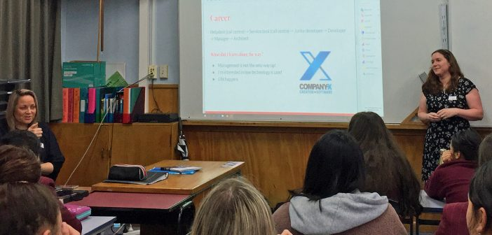 CLASS OF HER OWN: Company-X software architect Rachel Primrose, right, teaches a Hamilton Girls' High School maths class as colleague Karen Moore looks on.