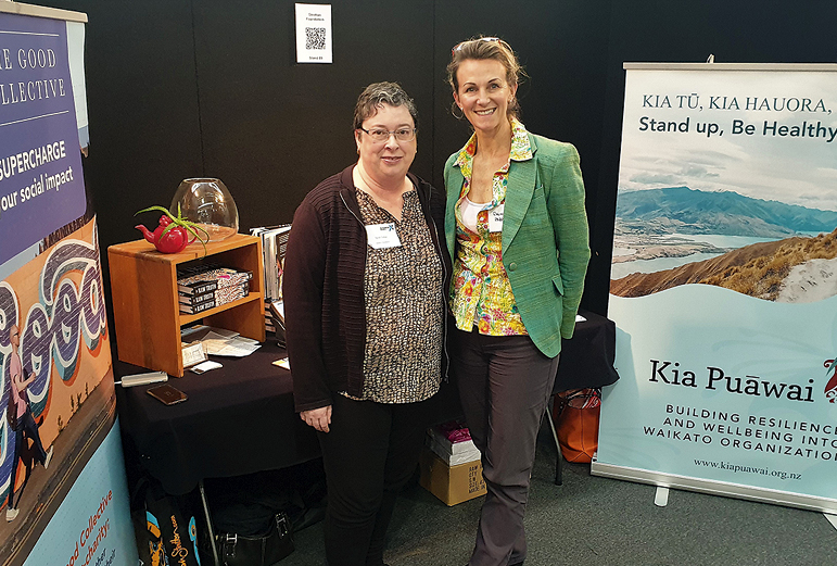 Sarah Treble, business manager from the Stretton Foundation, and Rhonda Parry, facilitator and director of Kai Pua¯wai.