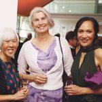 Chairperson of Mesh Sculpture Hamilton, Nancy Caiger, Hamilton Mayor Paula Southgate, and Chief Executive of Waikato-Tainui, Parekawhia McLean.