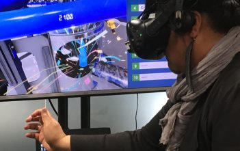 WIRED: Minister for Local Government and Associate Minister Trade and Export Growth Nanaia Mahuta visits a virtual dairy shed at Company-X in Hamilton.