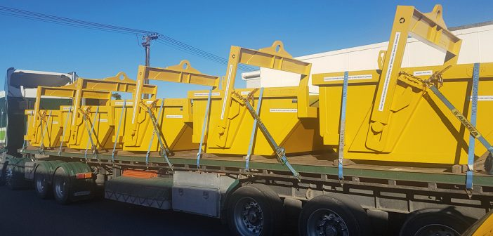 Self-dump full certified bins for despatch with 26T load certificate.