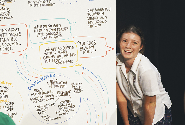 A Matamata College student with the visual record of the day.