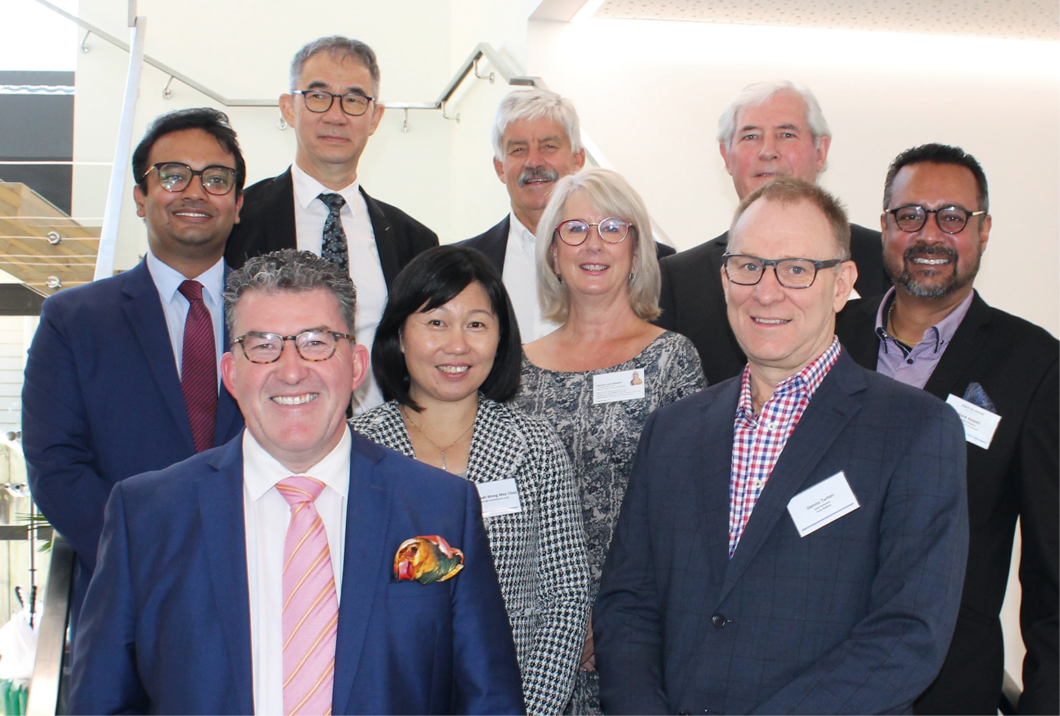 At the launch, from left, Gaurav Sharma, William Durning (front), Alan Chew (back), High Commissioner Nur Izzah Wong Mee Choo, Don Good, Maxine van Oosten, Patrick Wilson (back), Dennis Turton (front) and Dave Ananth.