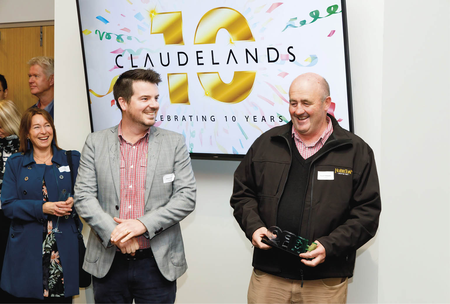 Hobbiton's Shayne Forrest and Russell Alexander accept their Hero award