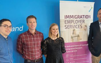 Members of the New Zealand Shores team, from left: licensed immigration adviser Fabien Maisonneuve, director and licensed immigration adviser Allan Crome, licensed immigration adviser Charlotte Natusch Stockman and business development manager Grant Coombes.